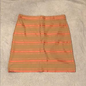 Khaki and pink striped pencil skirt.